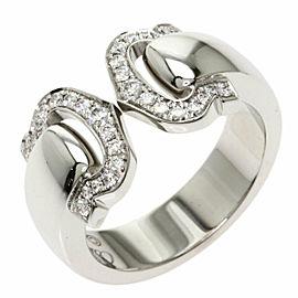 CARTIER Diamond 18k White Gold 2C Boucurse Ring