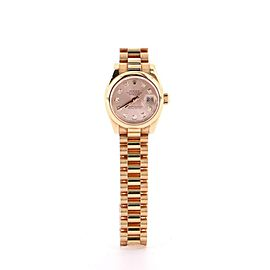 Rolex Oyster Perpetual Datejust Automatic Watch Watch Rose Gold with Diamond Markers 26