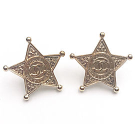 Chanel Gold Tone Hardware CC Star Dallas Patch Piercing Earrings