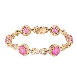 14K Yellow Gold Sapphire Diamond Bracelet