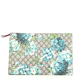 Gucci Zipped Pouch Blooms Print GG Coated Canvas XL