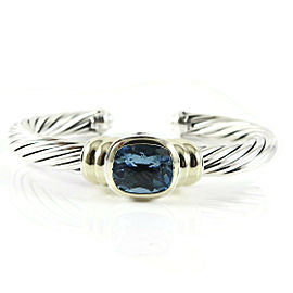 David Yurman Sterling Silver 14K Yellow Gold 7mm Blue Topaz Noblesse Bracelet