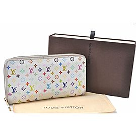 Louis Vuitton Monogram Multicolor Zippy Wallet Purse White M60243