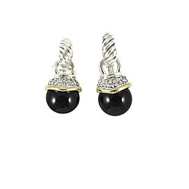 David Yurman Sterling Silver 18K Yellow Gold .48tcw Black Onyx Diamond Capri Charm Drop Earrings