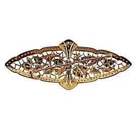 Gold Diamond Jade Brooch Pin