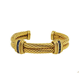 David Yurman Double Cable Cuff Bracelet with Sapphire