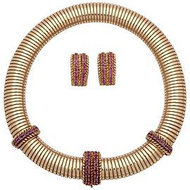 Vintage 14K Yellow Gold Ruby Tubogas Tubular Necklace & Earrings Set