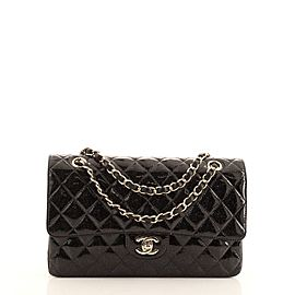 Chanel Vintage Classic Double Flap Bag Quilted Glitter Patent Medium