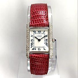 Must de CARTIER TANK Silver Watch 0.5TCW Diamonds