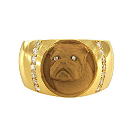 14K Yellow & Rose Gold Diamond Dog Ring Size 10.5
