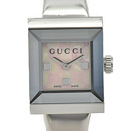 GUCCI 128.5 G frame YA128516 Pink shell Dial SS Quartz Ladies Watch