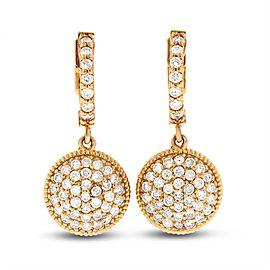 14k Rose Gold 1.10 Ct. Natural Diamond Medallion Circle Drop Dangle Earrings