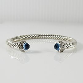 David Yurman Sterling Silver .58tcw 5mm Blue Topaz Diamotnd Cable Candy Bracelet