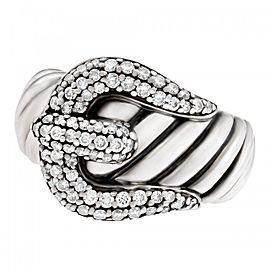 David Yurman Buckle Ring In Sterling Silver With Diamonds