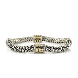 John Hardy Sterling Silver and 18K Yellow Gold 4-Station Dot Classic Chain Bracelet