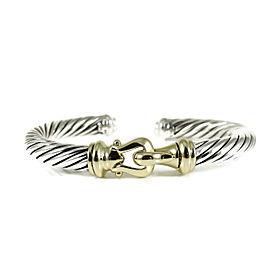 David Yurman Sterling Silver 18K Yellow Gold 7mm Hinged Buckle Bracelet