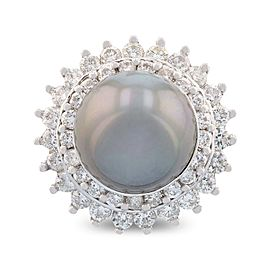 14K White Gold Cultured Tahitian Pearl Diamond Ring Size 7