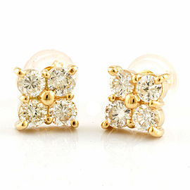 Flower flower 18K Gold Diamond 8 stones earring