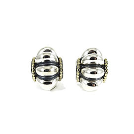 Lagos Sterling Silver 18K Yellow Gold Fluted Caviar Earrings