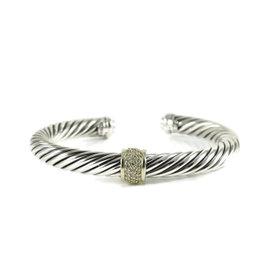 David Yurman Sterling Silver and 18K Yellow Gold with 0.21ct. Diamond Cable Classics Bracelet