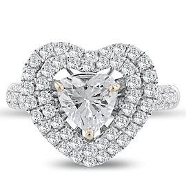 18K White Gold Diamond Heart Ring Size 7.5