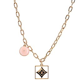 Louis Vuitton B Blossom Necklace 18K Rose Gold with 18K White Gold, Pink Opal, Diamonds and Mother of Pearl