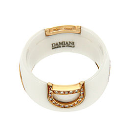 Damiani D-Icon Ceramic & 18K Rose Gold Diamond Band Ring Size 6