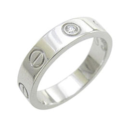 Cartier Mini Love 18K White Gold 1P Diamond Ring Size 4