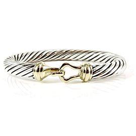 David Yurman Sterling Silver 14K Yellow Gold 7mm Buckle Bracelet - Size Small