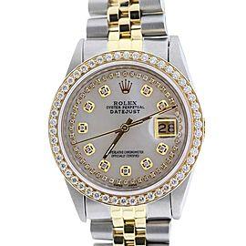 Rolex Datejust 18K Yellow Gold & Stainless Steel MOP & Diamond 36mm Watch