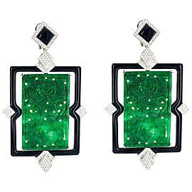 18 Karat Gold Large Sized Jade Onyx Earrings