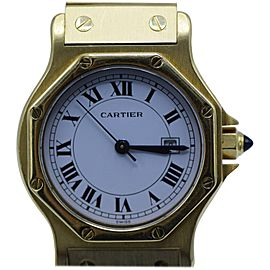 Cartier yellow Gold white dial Link Automatic Wristwatch