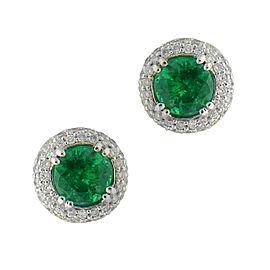 18K White Gold Round Green Emerald Halo Studs
