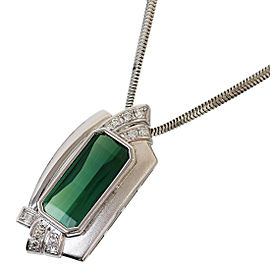 YOSHIHIKO OKUMURA 900 Platinum 6.08ct Tourmaline 0.18ct Diamond Necklace