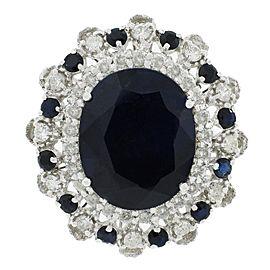 14K White Gold Blue Sapphire Diamond Ring Size 7