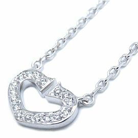 CARTIER 18K White Gold Diamond C Heart Pendant Necklace