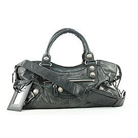 Balenciaga Black Leather Giant City 2way Bag with Strap 382bal527