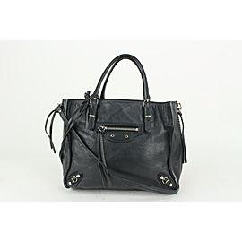 Balenciaga Black Leather Papier Mini A4 Zip Tote Crossbody Bag 818bal59