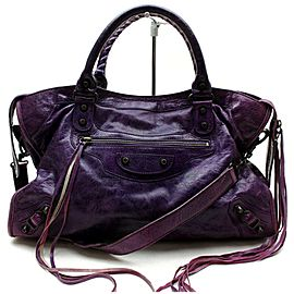 Balenciaga 871993 City 2way Purple Leather Shoulder Bag
