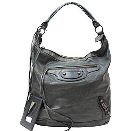 Balenciaga Hobo Arena Day 868558 Black Leather Shoulder Bag