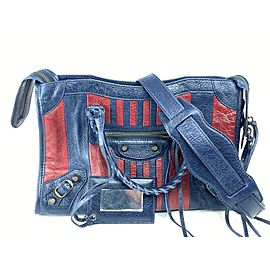 Balenciaga Bicolor Small City 2way with Strap Navy Red 2bal73 Blue Leather Shoulder Bag