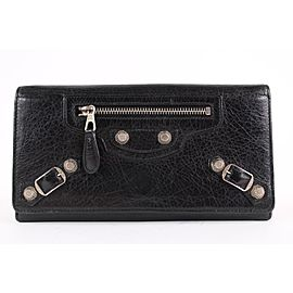 Balenciaga Black Leather Arena Wallet Long Flap 10BAL1221