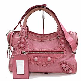 Balenciaga Brogues Giant City 2way 868718 Pink Leather Shoulder Bag