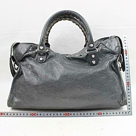 Balenciaga Charcoal City 2way 870939 Gray Leather Shoulder Bag