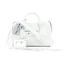 Balenciaga White Croc Leather City Nano 2way Crossbody Bag 657bal317