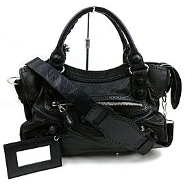 Balenciaga Giant City 2way 871820 Black Leather Shoulder Bag