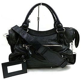 Balenciaga Giant City 2way 871820 Black Leather Shoulder Bag