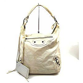 BALENCIAGA Off-White Leather The Day Hobo Bag 862953