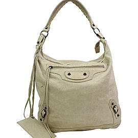 Balenciaga Hobo 866576 The Day One Beige Leather Shoulder Bag