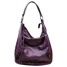 Balenciaga Hobo Day 860054 Purple Leather Shoulder Bag